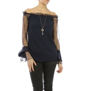 New Top Italy Off Shoulder Blue Lace Ruffle S M